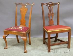 Chippendalestyle Carved Mahogany Side Chair and a Georgian Carved Walnut Side Chair with Trifid Feet