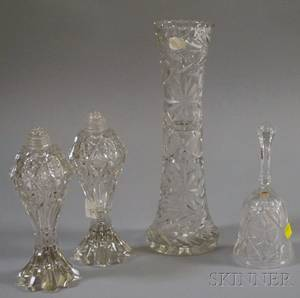 Three Colorless Cut Glass Items and a Pressed and Cut Glass Dinner Bell