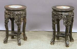 Pair of Small Chinese Export Marbleinset Carved Hardwood Stands