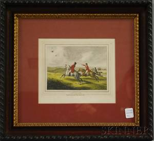 Framed Handcolored 19th Century English Engraving Heron Hawking