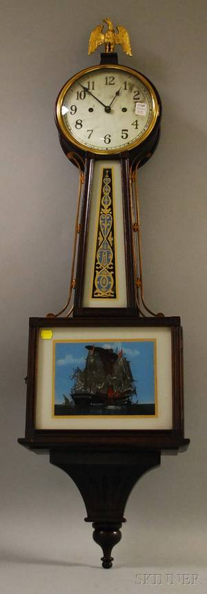 New Haven Clock Co Willard Mahogany and Eglomise Glass Banjo Timepiece
