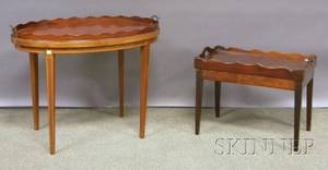 Oval Mahogany Serving Tray on Inlaid Mahogany Stand and a Georgianstyle Mahogany Tray Table