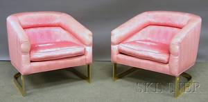 Pair of Modern Pink Upholstered Steel Tub Chairs