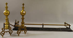 Pair of Baroquestyle Brass Andirons and a Late Victorian Brass and Cast Iron Fireplace Fender
