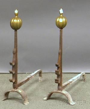 Pair of Baroque Brass and Wrought Iron Andirons