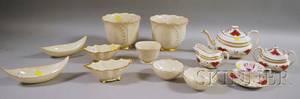 Fivepiece Spode Culross Porcelain Partial Tea Set and Nine Pieces of Lenox Porcelain