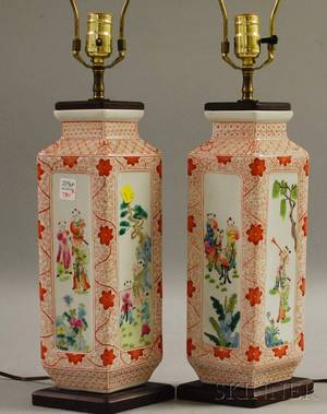 Pair of Modern Asian Porcelain Paneled Table Lamps