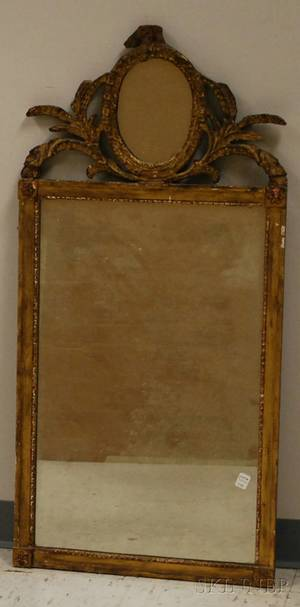 Neoclassical Giltwood and Gesso Mirror