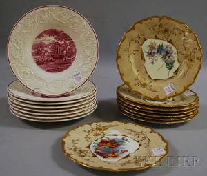Set of Eight Brown Westhead Moore and Co Gilt and Handpainted Floraldecorated Porcelain Plates and a Set of Eight Wedgwood Quee