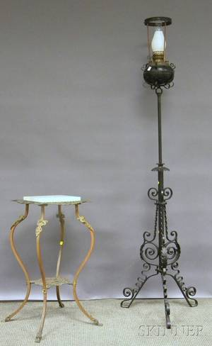 Late Victorian Marbletop Cast Brass Stand and a Blackpainted Wrought Iron Kerosene Piano Floor Lamp