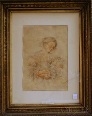 Framed Mixed Media Drawing of a Girl with Folded Hands