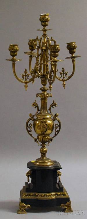 Renaissance Revivalstyle Brass and Black Marble Fivelight Candelabra