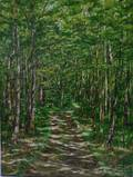Unframed Oil on Canvas View of a Path Through the Woods