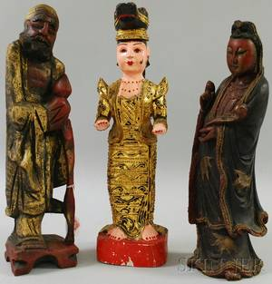 Pair of Chinese Carved and Painted Wood Figures and a Burmese Carved Wood Figure