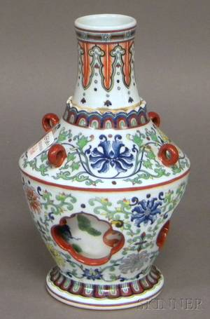 Chinese Doucai Porcelain Revolving Bottleform Vase