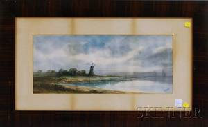 Pauline Meyer Colyar American 18731928 Coastal Landscape with Windmill