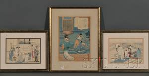 Three Japanese Woodblock Prints and a Painting