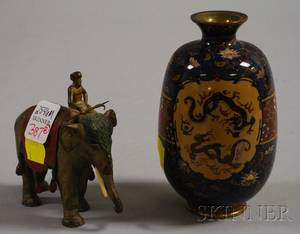 Japanese Cloisonne Vase and an Austrian Cold Painted Bronze Figure of an Indian Elephant with Rider