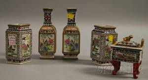 Two Pairs of Chinese Porcelain Vases and a Footed Box with Cover