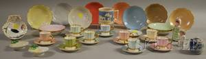 Seven Assorted Ceramic Table Items and a Set of Nine Demitasse Cups and Saucers with a Set of Twelve Small Dishes