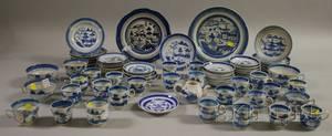 Approximately Sixtyfive Pieces of Chinese Export Porcelain Canton Tableware