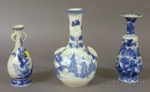 Three Japanese Blue and White Porcelain Vases