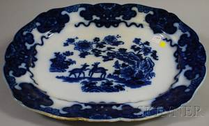 Large Scallopedged Flow Blue Porcelain Platter