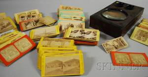 French Burl Veneer Stereo Viewer and a Collection of 19th Century Stereoview Cards