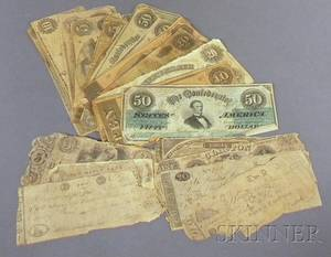 Twentytwo Pieces of Assorted Confederate States Currency and Eight Assorted Late 18th and Early 19th Century US Promissory and Beare