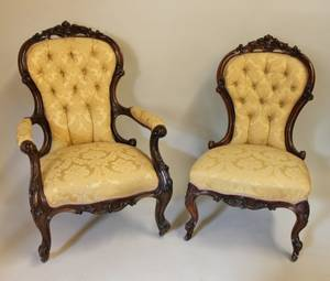 Pair of 19th C Walnut Framed Chairs
