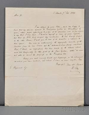 Clay Henry 17771852 Autograph Letter Signed 7 February 1836