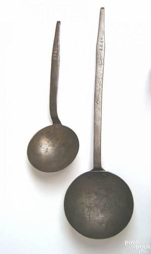 Two Pennsylvania wrought iron ladles