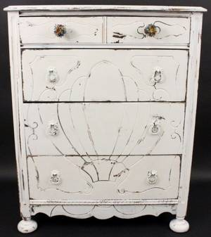 Antiqued White Painted Four Drawer Chest