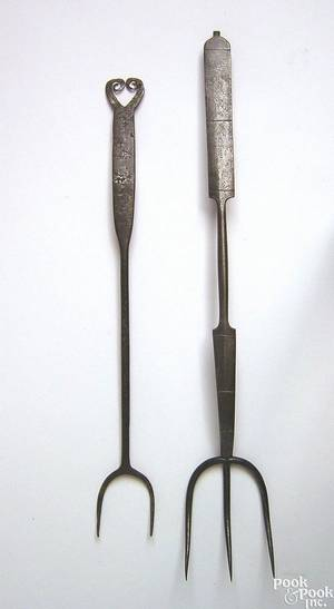 American wrought iron meat fork mid 19th c