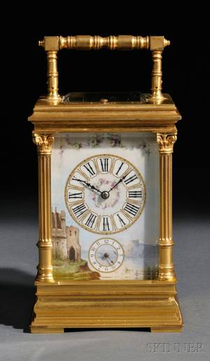 Hourrepeating Carriage Clock with Porcelain Panels