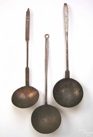 Pennsylvania wrought iron and copper ladle early 19th c