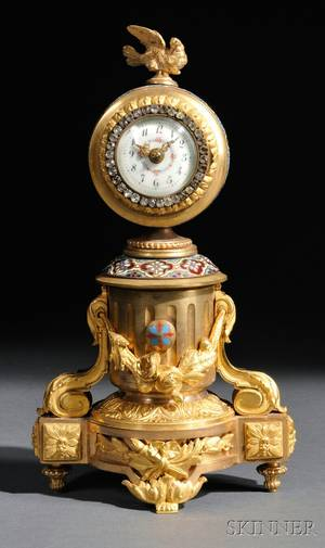 French Giltbrass and Champleve Desk Clock
