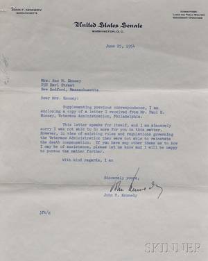 Kennedy John Fitzgerald 19171963 Typed Letter Signed 25 June 1954