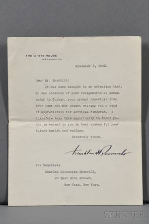 Roosevelt Franklin Delano 18821945 Typed Letter Signed 2 November 1933