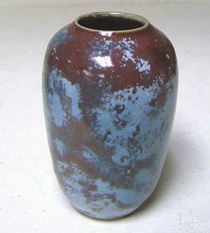 North Carolina jugtown pottery vase with turquoise and red glaze