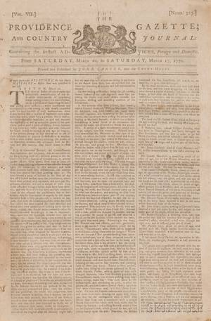 Newspapers Boston Massacre Providence Gazette and Country Journal