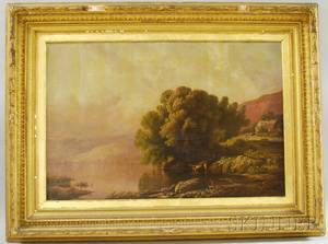 AngloAmerican School 19th Century Lake Shore with Cottage and Cows Watering