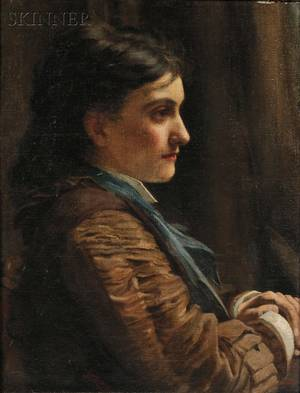 John Dickinson British 19th20th Century Portrait of a Woman in Profile