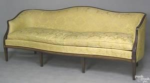 Regency style mahogany camelback sofa