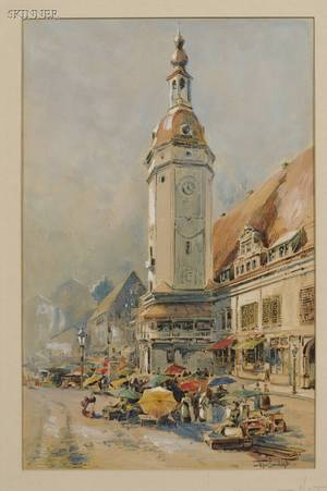 William Louis Sonntag Jr American 18691898 Market Day under the Clock Tower