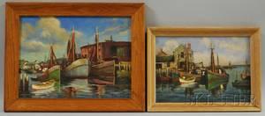 Arthur E Ward American 18631928 Two Framed Views of Cape Ann Gloucester Wharves
