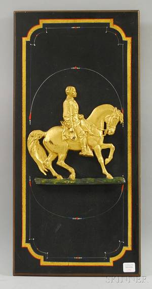 Civil War Commemorative Giltmetal General Grantmounted Polychromepainted Wood Wall Plaque