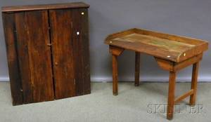 Country Pine Twodoor Wall Cupboard and Washstand