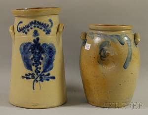 Ovoid Cobalt Floraldecorated Stoneware Crock and a Cobalt Floraldecorated Stoneware Threegallon Churn