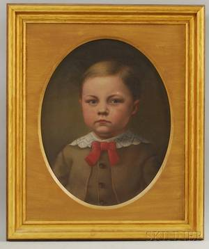 19th Century American School Oil on Canvas Portrait of a Boy with a Red Tie